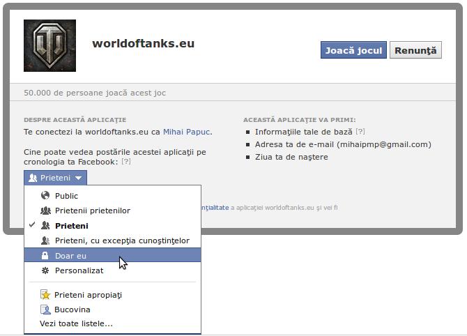 Adaugă o aplicație Facebook