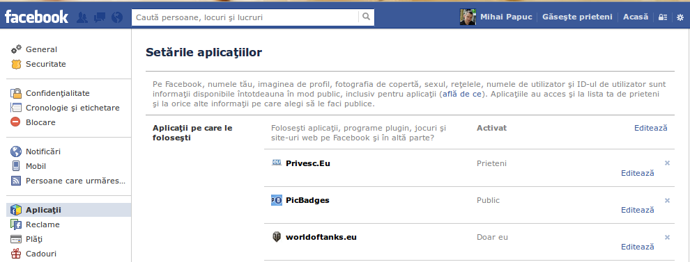 Verifica aplicatii Facebook