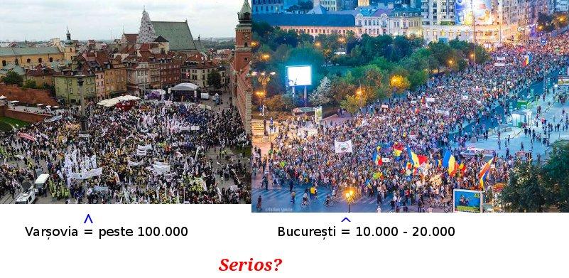 Diferente de estimare manifestanti Varsovia - Bucuresti